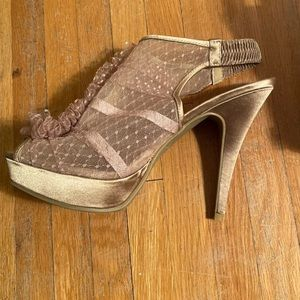 Chinese Laundry rose gold pink mesh heels